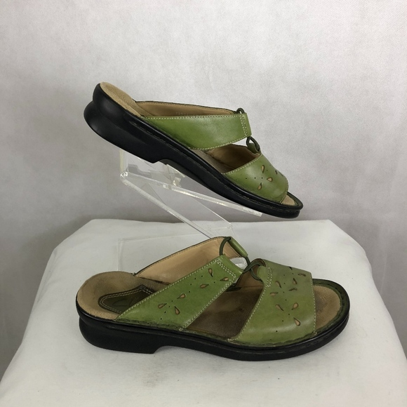 Womens Olive Green Leather Slip Sandals